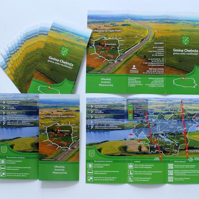 Projekt i realizacja ulotki A4 w DL w C dla Gminy Chełmża